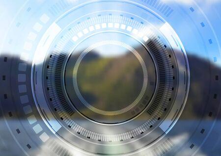 hitech: Hi-tech landscape background with HUD interface. Vector blurred illustration