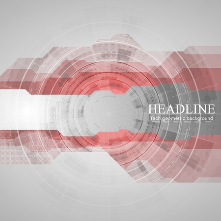 Tech geometric drawing background with gear. Red grey vector design template