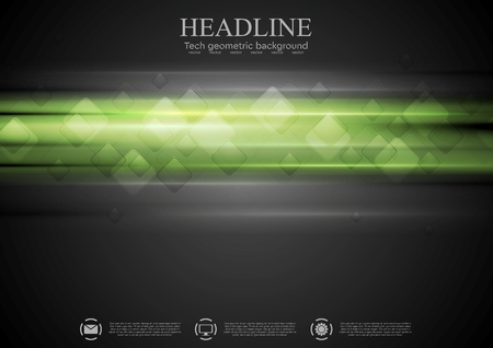green background texture: Dark green tech background with squares and glowing light. Vector illustration template Illustration