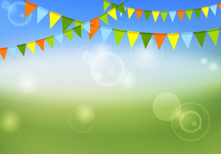 Party flags celebrate abstract background and summer colors. Vector graphic design