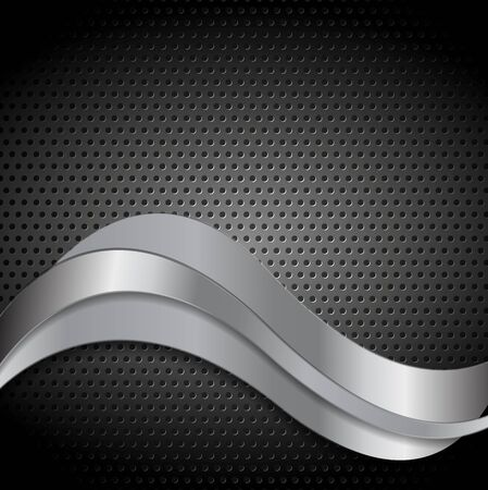 perforated metal: Abstract perforated metal texture with silver waves. Vector template design