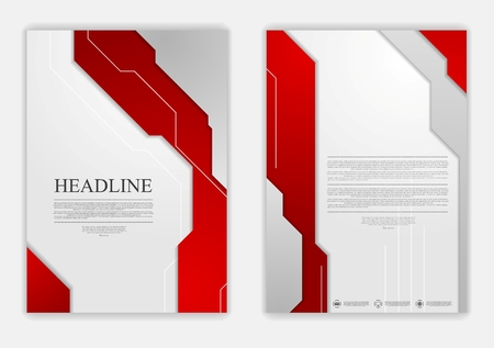brochure cover: Abstract red grey geometric tech flyer design. Vector background