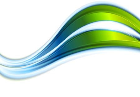Vert vagues abstraites bleu sur fond blanc. illustration design Banque d'images - 53381025