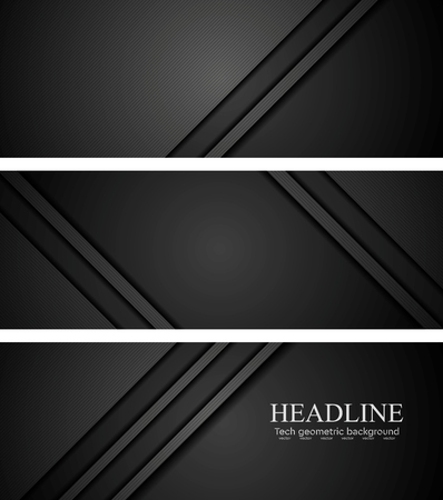 Abstract black tech concept banners. illustration design