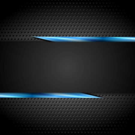 Tech black design with perforated metal texture. Vector background