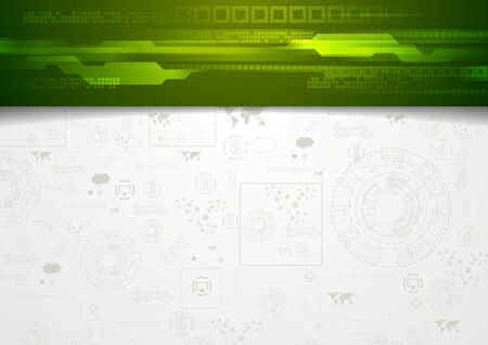 header: Hi-tech corporate background with green header. Vector design