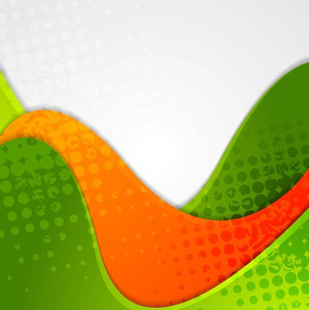 orange abstract: Abstract grunge green orange wavy background. Vector design