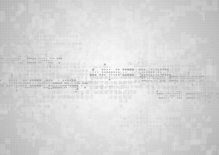 Hi-tech geometryczne szare tło abstrakcyjne. Projektowanie grafiki wektorowej z kwadratami i okręgami