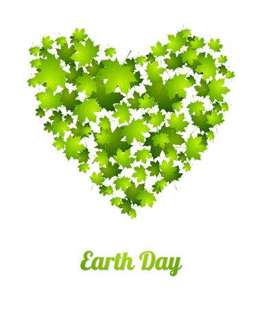 ecology background: Earth Day ecology green abstract background. Heart from leaves. Summer vector graphic design