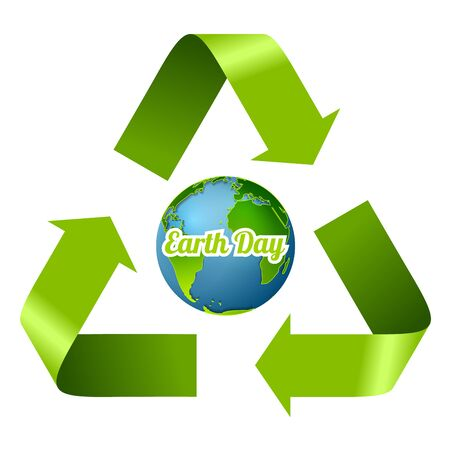 blue arrow: Earth Day design with recycle arrows. Vector graphic corporate ecology background