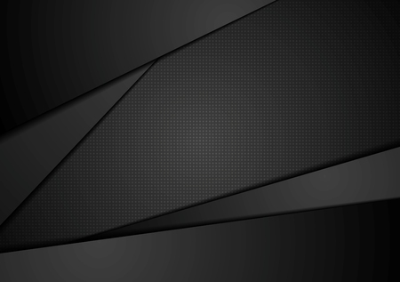 Black abstract corporate background. Black abstract vector design. Dark illustration, black stripes Çizim