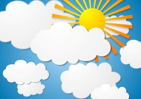 Bright cloudscape with sun. Vector white clouds on blue sky with sunshine. Nature graphic design illustration with clouds and sun