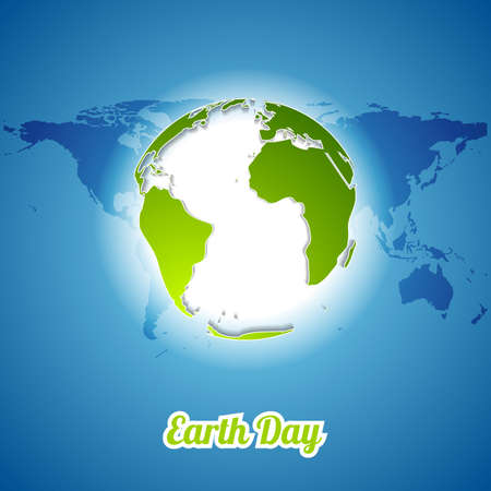 ecology background: Earth Day background with green globe and map. Vector ecology illustration template