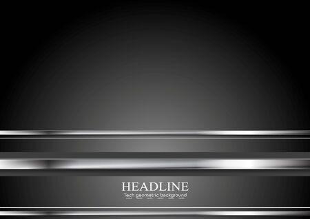 metal black: Silver metal stripes on black backdrop. HI-tech metallic illustration