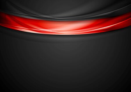 smooth background: Contrast red black smooth wavy background. Vector graphic template design Illustration