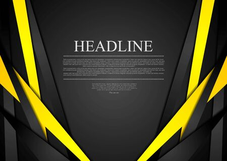 grey background: Black and yellow corporate tech striped graphic design. Vector brochure template background