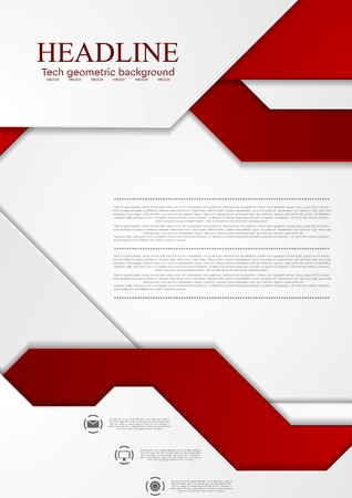 Abstract tech corporate vector background. Bright red grey graphic design.