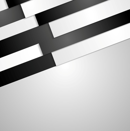 Black and white paper stripes abstract corporate background. Vector illustration