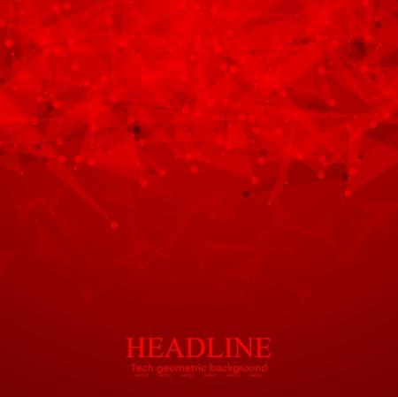 Fond polygonale tech rouge vif. Conception graphique de vecteur