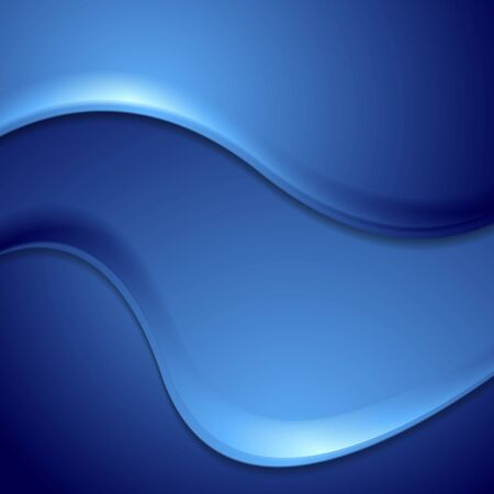 wavy background: Dark blue abstract wavy background. Vector smooth waves corporate illustration