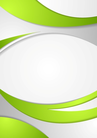 graphic background: Green corporate wavy flyer background. Vector waves bright graphic design Illustration