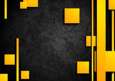 Orange Tech-Elemente auf dunklem Hintergrund Grunge. Vektor-Grafik-Design