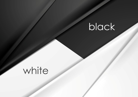 Smooth silk abstract black and white corporate background. Vector graphic design Çizim