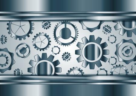 blue metallic background: Blue chrome tech gears mechanism background. Vector technology metallic design