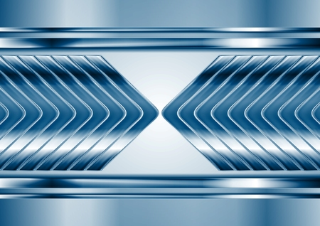 chrome: Abstract blue metal tech arrows background. Vector chrome technology design