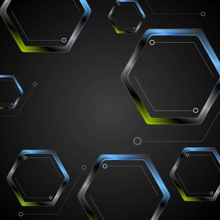 green and black: Dark green blue geometric hexagons background. Vector black technology graphic design