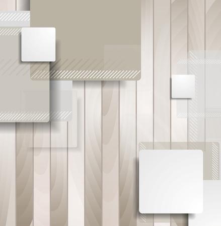 Kort bruin vierkanten op houten achtergrond. Vector technologie geometrisch grafisch ontwerp