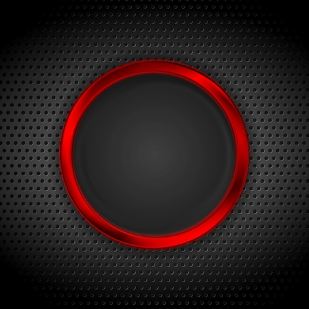 ring: Bright red ring on perforated metallic texture. Vector graphic design