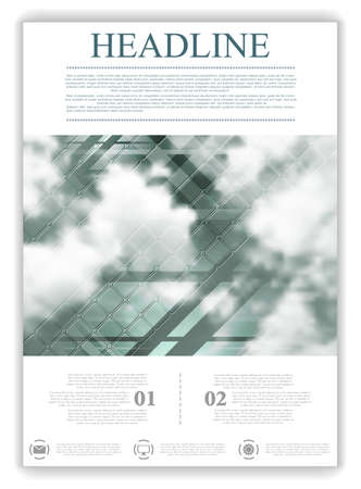 web template: Abstract geometric brochure template layout with sky and clouds. background for print , brochure, web graphic design or booklet Illustration