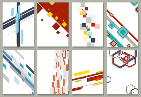 graphic backgrounds: Abstract minimal geometric brochure template design set. Vector tech backgrounds collection for print flyers, brochure, web graphic design or booklet