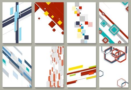 Conjunto geométrico mínimo del diseño de la plantilla del folleto. Colección de fondos de tecnología de vectores para folletos impresos, folleto, diseño gráfico web o folleto