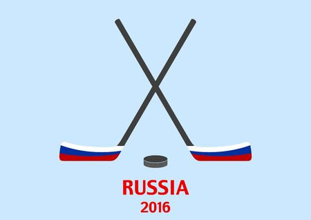 puck: Hockey sticks and puck with the Russian flag. Vector background