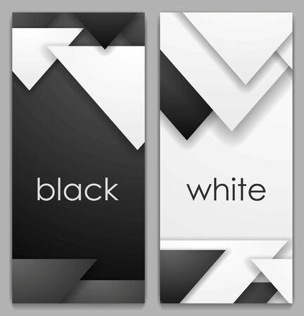 Bannières verticales de technologie géométrique noir et blanc. Conception graphique du vecteur technologie abstraite
