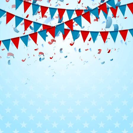 flags usa: Party flags abstract USA background with confetti. Vector graphic design Illustration