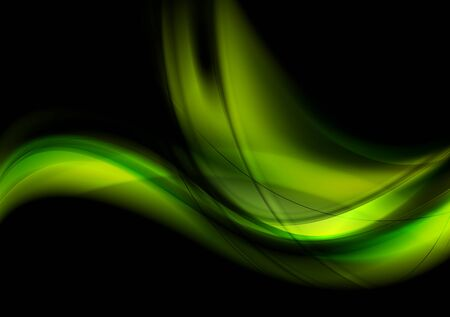 green card: Bright green smooth glowing waves on black background. Vector abstract wavy graphic design