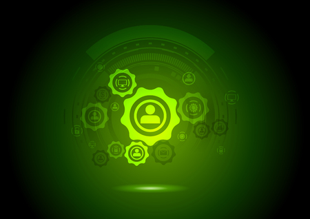 green technology: Abstract communication background with gears and icons. Technology vector design template