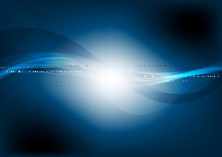 Dark blue wavy technology background. Vector graphic waves design