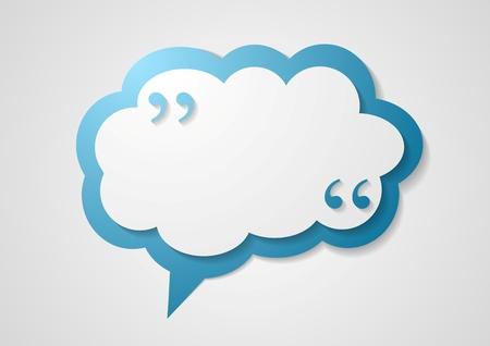bolla Blue Cloud discorso con virgole, citando astratto. Vector dialogo nuvola graphic design Logo