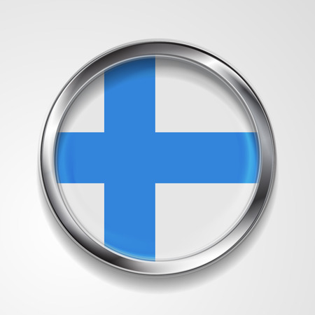 finnish: Abstract vector button with metallic frame. Finnish flag