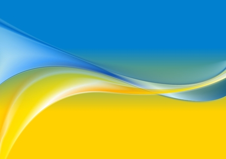 Wavy background Ukrainian flag colors. Vector design Çizim