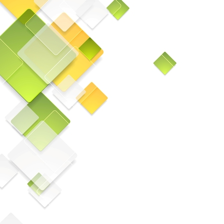 Green and orange glass glossy squares background. Vector illustration