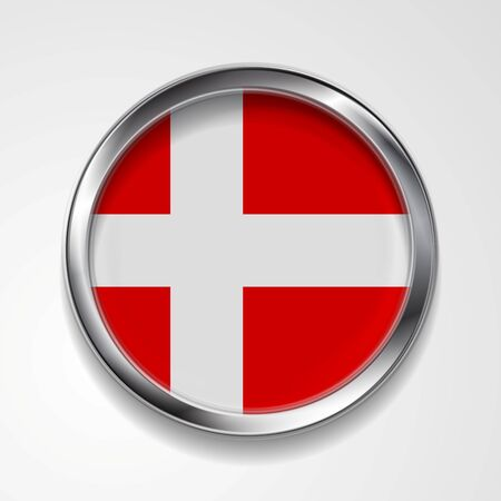 danish flag: Abstract vector button with metallic frame. Danish flag