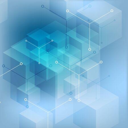 cubo: Alta tecnología fondo azul geométrico abstracto. diseño del vector