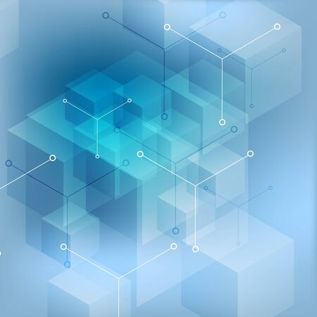 Hi-tech abstract geometric blue background. Vector design