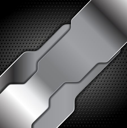 black and silver: Abstract metal texture tech background. Grey silver metal tech vector design Illustration