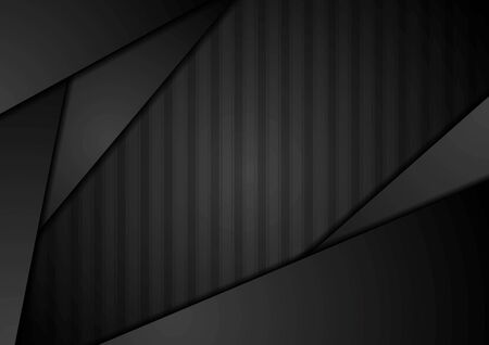 graphic background: Abstract black technology striped graphic design. Vector template dark background Illustration